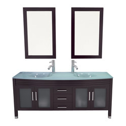 """JWH Imports - 63"""" Grand Regent Large Double Sink Modern Bathroom Vanity Cabinet with Glass Top ..."""