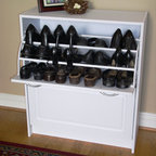 4D Concepts - Deluxe Double Shoe Cabinet - A perfect solution to all of your shoe storage needs. The double tier cabinet is decorated with shaped vacuum formed fronts. The drawers opens with a curved pewter colored handle for easy opening. The 2 drawers pivot open on a uniquely designed plastic bracket to 3 fixed shelves that are able to store up 24 pairs of shoes (Max size men's 10). Constructed of Composite Board and highly durable PVC laminate. Clean with a dry non abrasive cloth. Assembly required