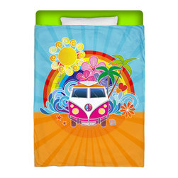 "Eco Friendly Made In USA ""Peace Bus"" Surfer Bedding Twin Comforter - Peace Out and Take A Ride Premium In Our ""Peace Bus"" Twin Size Comforter From Our Surfer Bedding Bed and Bath Collection."