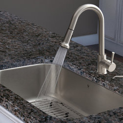 Vigo Industries - Undermount Kitchen Sink with Faucet - Includes soap dispenser, spray face, matching bottom grid, sink strainer, all mounting hardware and hot/cold waterlines. Corrosion and tarnishing resistance. Sink is fully undercoated and padded. Commercial grade premium scratch resistant. Multi layer sound eliminating technology which also prevents condensation. Kitchen sink is cUPC and NSF 61 certified by IAPMO. Kitchen faucet features a dual function pull out spray head for aerated flow or powerful spray. Resists mineral buildup and is easy to clean. High quality ceramic disc cartridge. Retractable 360 degree swivel spout expandable up to 30 in.. Single lever water and temperature control. Water pressure tested for industry standard. 2.2 GPM flow rate. Standard US plumbing 0.375 in. connections. Kitchen faucet is cUPC, NSF 61, and AB1953 certified by IAPMO. Faucet is ADA compliant. Dispenser featured with protective bumpers. Two hole installation with soap dispenser. Warranty: Lifetime limited. Made from solid brass, 18 gauge premium 304 Series stainless steel and vinyl. Chrome and satin color. Sink Exterior: 30 in. W x 18 in. D x 9.25 in. H. Sink Interior: 28 in. W x 16 in. D x 9.25 in. H. Sink required interior cabinet space: 30 in.. Faucet height: 15.125 in.. Faucet spout reach: 8.75 in.. Dispenser opening: 1.5 in.. Dispenser spout projection: 3.5 in.