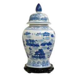 "Oriental Furniture - 18"" Landscape Blue and White Porcelain Temple Jar - Classic Asian design temple jar, which are often displayed in pairs on buffets, credenzas, or sideboards. Decorated with a Chinese blue and white landscape pattern with hand painted mountain and pagoda detail."