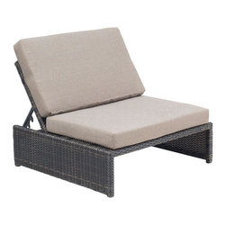 ZUO - Delray Reclining Single Seat - Dark water-resistant weave supports the elegant beige cushion of the Delray Reclining Chair. Sit up with a salted margarita or lie back, coated in plenty of sunscreen. Perfect with the Delray Table Ottoman, sold separately.