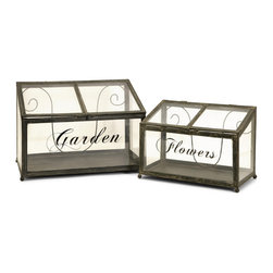 Garden Flowers Metal Greenhouse - Set of 2 - *Set of two metal and glass greenhouses in graduating sizes exclusive design.
