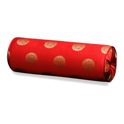 China Furniture and Arts - Silk Neck Pillow - Longevity, Red, 19in - The oriental word longevity, the symbol of long life and good fortune in Chinese culture, is brocaded on the luxurious Chinese red silk. Mix or arrange decoratively on a sofa, bed, or chaise. Zipper cover removes for dry cleaning.