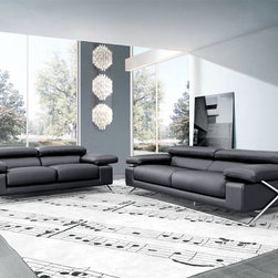 513 Modern Italian Leather Sofa Set - Retract-able headrests