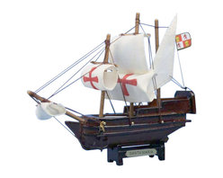 """Handcrafted Model Ships - Santa Maria 7"""" - Wooden Tall Ship - Ready For Immediate Display. Sold Fully Assembles - Not a model ship kit.. The largest of three ships sailed by Christopher Columbus on his first voyage, the fabulous Santa Maria is brought to life in a delightful 7 inch toy model. A perfect toy gift for any child or nautical enthusiast, this 100% wood model is intricately detailed to historic accuracy. A metal plate proudly displays her legendary name, and this miniature boat fits perfectly upon any desk or shelf, adding a touch of history and sophistication to any room it graces."""
