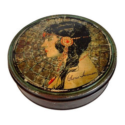 Used  Gloria Swanson Tin - This vintage metal tin has certainly seen some wear, but its beauty lies in the gorgeous image of the great Gloria Swanson on the lid. It's in fair vintage condition and has been treated with Rustoleum to protect it from further rust.