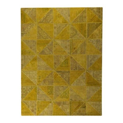 Mat-The-Basics - Tile Rug by Mat-The-Basics - As the name suggests, the Mat-The-Basics Tile Rug looks like a section of intricate tile work. It is made of numerous triangular pieces from reclaimed and restored vintage rugs, snugly hand stitched using leftover dyed yarns. Each triangle is over-dyed and, in this case, arranged in alternating colors and patterns to create unequaled visual interest. Mat-The-Basics has pioneered a new type of carpet - refined, handmade rugs that combine innovative design with a dedication to the highest standards of craftsmanship. These carpets, inspired from contemporary shapes and colors, are created using the traditional techniques of skilled weavers including hand-tufting, hand-weaving and hand-knotting methods.