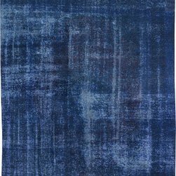 """ALRUG - Handmade Blue Persian Antique Overdyed Rug 9' 3"""" x 11' 1"""" (ft) - This Persian Overdyed design rug is hand-knotted with Wool on Cotton."""