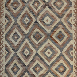 """ALRUG - Handmade Multi-colored Oriental Kilim  6' 9"""" x 10' (ft) - This Afghan Kilim design rug is hand-knotted with Wool on Wool."""