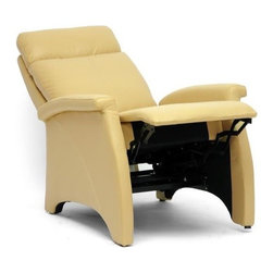Wholesale Interiors - Aberfeld Recliner Club Chair in Tan - Let the Aberfeld modern recliner do all the work as you kick back and relax! More than just a recliner, the black faux leather is soft and supple while the steel mechanism is reliably supportive. To recline, grip the armrests and use your weight to lean on the backrest. Medium-firm foam cushions and black plastic disc feet complete this chair, a new contemporary classic.