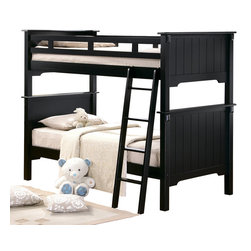 Homelegance - Homelegance Pottery Full Bunk Bed in Black - The Pottery collection by Homelegance is perfect for that cottage look. styled for your child this bunk bed features an old-world charm finished in black sand with beautifully designed paneling. This bed can be separated into two beds by using the taller-pieces as headboards and the shorter-pieces as individual footboards giving each bed an equalized look. Made of solid hardwoods this-Piece is sure to meet your child's needs. Mattresses not included.