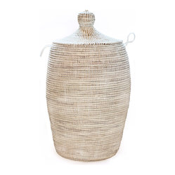 African White Hamper - Hand made by artisans in Africa, these baskets bring amazing craftsmanship into our living spaces. Handwoven by an association of more than 100 rural Wolof women of Senegal, these baskets create a fun and textural way to store everything from toys to craft supplies, linens to laundry.
