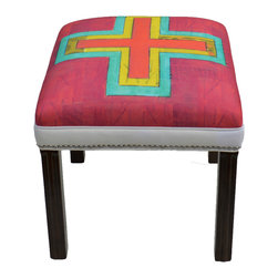 """Carrier Collective - """"Multiple Paths"""" Ottoman - Meet """"Multiple Paths"""".  One of our Native American inspired designed Ottomans."""