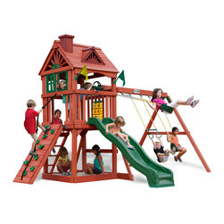 Gorilla Playsets - Double Down Swing Set - Have twice as much fun with the Double Down Swing Set by Gorilla Playsets! This set includes two Wave Slides for maximum excitement! And the fun doesn't stop there - a rock wall, Tic-Tac-Toe panel and many other accessories take the imagination to the extreme! The play deck is protected with a tongue and groove wood roof. This premium cedar wood playset is pre-cut, pre-sanded, pre-stained and ready to assemble in your backyard over the weekend. The entire playset is finished in a beautiful redwood stain.  Gorilla Playsets' cedar naturally resists rot, decay, and insect damage.