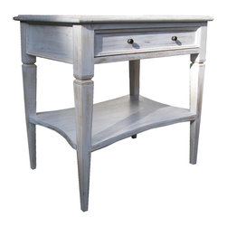 Oxford One Drawer Side Table - White Wash - A curved undershelf is a characteristic touch of artisan whimsy which adds the slightest note of urbane class to an otherwise quite traditional end table.  The single drawer of the Oxford Side Table slides neatly beneath a beveled top with its two round knobs, while the occasional surface's tapering legs display a narrowed band of simple carved decor to break up the well-balanced lines of the useful mahogany furniture piece.