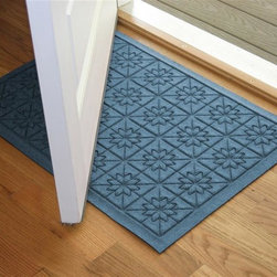 Bungalow Flooring - 24 in. L x 36 in. W Bluestone Waterguard Star QuiLight Mat - Made to order. Quilted star design traps dirt, resists fading, rot and mildew. Indoor and outdoor use. 24 in. L x 36 in. W x 0.5 in. H
