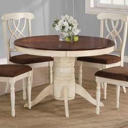 Coaster - Addison Dining Table - The Cameron collection will be a lovely addition to your casual dining room. The table has a simple rustic charm, with a smooth round shaped table top finished in dark cherry. A charming pedestal base in buttermilk completes this table and will warm up your home. Matching upholstered side chairs provide ultimate comfort.