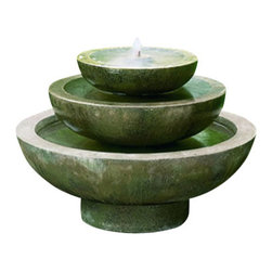 Campania - Platia Garden Water Fountain, Brown Stone - The Platia Garden Fountain offers a contemporary style and elegance. The water creates a tranquil flowing water sound. The finishing techniques make every piece a uniquely beautiful and original work of art.