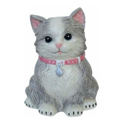 WL - 8 Inch Grey and White Smiling Cat with Pink Collar Ceramic Money Bank - This gorgeous 8 Inch Grey and White Smiling Cat with Pink Collar Ceramic Money Bank has the finest details and highest quality you will find anywhere! 8 Inch Grey and White Smiling Cat with Pink Collar Ceramic Money Bank is truly remarkable.