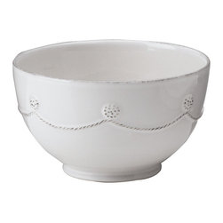 Berry and Thread Cereal / Ice Cream Bowl - Whitewash - A delicate berries and thread motif. A soft white hue. A silken satin glaze. All blend together to create the charming allure of the Berry and Thread Cereal/Ice Cream Bowl. Greet the unfolding day with a morning bowl of your favorite organic cereal, or welcome the quiet rest that evening brings with a generous scoop of gelato.