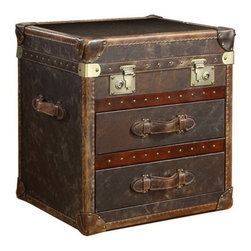 Curations Limited - Curations Vintage Leather Trunk Chest in Aged - Flip-top and two-drawer genuine leather trunk with aged patina, leather-bound corner brackets, and leather wrapped handles. Cast metal antiqued hardware is included for added vintage style.
