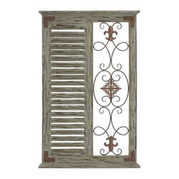 BZBZ50243 - Classic Pine Wood Metal Wall Panel and Parallel Slats of Wood - Classic Pine Wood Metal Wall Panel and Parallel Slats of Wood. Infuse life and light into your living space with this brilliant creation of antiqued wall panel.