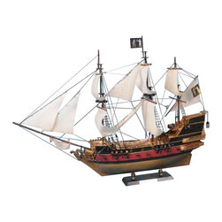 """Handcrafted Model Ships - Black Bart's Royal Fortune 36"""" - White Sails - Sold fully assembled"""