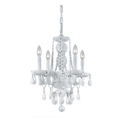 Crystorama - Crystorama Vogue 1 Tier Chandelier in Wet White - Shown in picture: All White glass arm Chandelier; Traditional crystal chandeliers are classic - timeless - and elegant. Crystorama�s opulent ALL WHITE glass arm chandeliers are nothing short of spectacular. With the Vogue Collection - Crystorama turns a classic traditional style into a fashion forward design for today�s interior spaces.