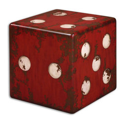 Uttermost - Vintage Dice Accent End Table - A  giant  dice  table  would  be  a  fun  addition  to  your  game  room.  A  bright  red  dice  with  ivory  spots  and  walnut  undertones  beneath  the  distressed  paint,  you  can  even  use  it  as  a  stool  or  bench.  Hand  distressed  to  give  it  a  vintage  feel,  this  rustic  accent  table  is  one  of  a  kind!