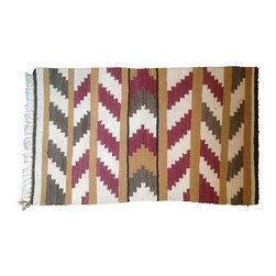 Small Navajo Zig Zag Rug - A petite vintage Navajo rug with a zig-zag motif in muted red, gray, ivory, tan, and black. Perfect for an entry way or kitchen.
