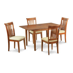 """East West Furniture - Milan 5Pc Set with Dining Table and 4 Portland Microfiber Seat Chairs - Milan 5Pc Set with Rectangular Table Featured 12 In Butterfly Leaf and 4 Microfiber Upholstered Seat Chairs; Rectangular dining table is designed in contemporary style with clean angles and sleek lines.; Table and chairs are crafted of fine Asian solid wood for quality and longevity.; Chairs are available with either wooden seats or upholstered seats to suit preference and desired motif.; Table features a standard butterfly leaf for convenient extension.; Ladder back chair style is sturdy, durable, and is ideal for classic decor in any kitchen or dining room.; Dinette sets are available in either rich Mahogany or exquisite Saddle Brown finish.; Weight: 143 lbs; Dimensions: Table: 42 - 54""""L x 36""""W x 29.5""""H; Chair: 18""""L x 17""""W x 38.5""""H"""