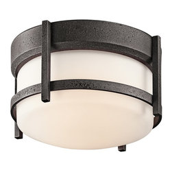 BUILDER - BUILDER Camden Lodge/Country/Rustic/Garden Outdoor Flush Mount Ceiling Light X-I - Soft contemporary curves are blended with rustic elements for a stylish and updated look on this Kichler Lighting outdoor flush mount ceiling light. From the Camden Collection, it features a clean opal etched glass shade that has been set against an Anvil Iron finish for visual interest. 75&#176: C wire rated.