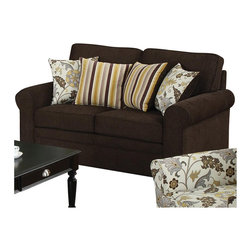 Coaster - Coaster Rosalie Stationary Loveseat with Accent Pillows in Dark Brown - Coaster - Loveseats - 504242 - Relax and sit in luxury with this casual yet attractive loveseat. It features a dark dual-colored woven fabric soft to the touch and perfect for lounging around. Giving it a more sophisticated feel are two striped and two floral accent pillows giving it a punch of personality and color. This loveseat is beautifully crafted with pocket coil spring seating and clean poly filled cushions for a sense of quality and class. Solid wood legs and a rolled arms finish the loveseat and give it that welcoming traditional feel.
