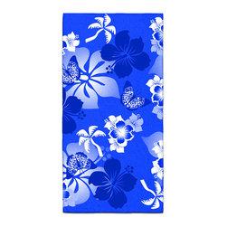 "Eco Friendly Hawaiian ""Aloha Blue"" Bath Towel - Our Bath/Beach Towels are made of a super soft poly fiber fabric with 2mm pile."