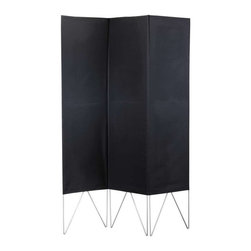 Adesso - Adesso Vector Folding Screen, Black - WK3800-01 - One solid polyester fabric envelope is stitched to create three separate panels