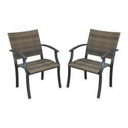 HomeStyles - Arm Chair in Brown - Set of 2 - Set of 2. Synthetic-weave seat and back. Powder coated steel frame. Synthetic-weave is both moisture and weather resistant. Requires very little maintenance. Adjustable nylon glides prevent damage to surfaces and provide stability on uneven surfaces. Designed to stack for easy storage. Made in Vietnam. Seat height: 18 in.. Arm height: 26.25 in.. Overall: 24.5 in. W x 24.25 in. D x 36 in. H. Warranty