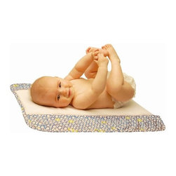 """Ah Goo Baby - Memory Foam Changing Pad in Bubbles in Water - The Plush Pad® by Ah Goo Baby® has been awarded the title of most comfortable changing station by countless reputable parenting experts. Uniquely designed with a thick body-contouring memory foam cushion to soothe and support your baby's sensitive pressure points, it is the only portable surface for your baby that can be used for diaper changes around the home, during travel, and on-the-go, yet also double as the perfect surface for tummy time and infant / parent classes. The Plush Pad by Ah Goo Baby - The multi-purpose memory foam surface for your baby. Bring the comfort of the nursery into any room and any place. Diaper Changes - Tummy Time - Infant/ Parent classes. Around Your Home - On-The Go  Travel. Upgrade your choice... Get The Plush Pad® for you and your baby. Style meets practical. Baby meets plush. Features: -Made of cotton and soft minkee fabrics. -White with Blue Circles. -Ultimate portability, durable as any of your fine bed linens. -With thick memory foam cushion. -Relaxes baby by molding to curves and relieving tiny pressure points. -Baby will relish the experience of being changed. -Plenty of wiggle room for the baby (approx 2 ft x 2 ft). -Easily fits in one's diaper bag, suitcase, or to store away when not being used. -Temperature friendly - all materials remain consistently temperate for year round use. -No vinyl changing surface out there can make such a claim. -Great baby gift for expectant parents and grandparents (for when the grandchild visits). -Some use it as their only changing surface if they are looking to conserve space. -Machine washable with two layers of water-repellant barriers. -Memory foam insert can be easily removed prior to washing. Specifications: -Opened: 23"""" L x 23"""" W. -Closed: 3"""" x 10"""" cylinder when rolled. -Overall dimensions: 22"""" H x 22"""" W x 0.5"""" D."""