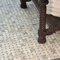 "Basketweave Stone Mosaic - Basketweave 3x5 cm in tumbled Calacatta Baroque and Montevideo with 3"" x 6"" Bardiglio and 2"" x 6"" Montevideo honed border"