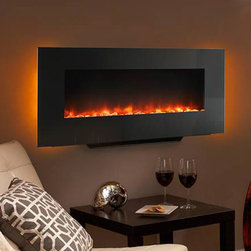SimpliFire 38-In Black Linear Wall Mount Electric Fireplace - SF-WM38-BK - A slim design wall mounted electric fireplace, orange and blue flames create ambiance while providing up to 4,800 BTUs of heat output.