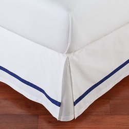 Morgan Banded 400-Thread-Count Bed-Skirt, Cal. King, Twilight Blue - Our Morgan bed skirt finishes the bed with exceptional softness and tailored style. It features a single solid stripe that edges the crisp white ground. Made of pure cotton. 400-thread count. Machine wash. Imported.