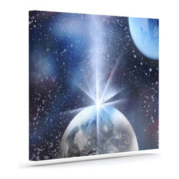 "Kess InHouse - Infinite Spray Art ""Intergalactic"" Blue Painting Wrapped Art Canvas (8"" x 10"") - Bring your outdoor patio to life with this artistic outdoor canvas wrap featuring gorgeous artwork by KESS InHouse. These canvases are not only easy to hang and remove but also are the perfect addition to your patio collection. These canvases are stretched around a wooden frame and are built to withstand the elements and still look artistically fabulous. Decorating your patio and walls with these prints will add the splash of art and color that is needed to bring your patio collection together! With so many size options and artwork to choose from, there is no way to go wrong with these KESS Canvas Wraps!"