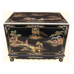 "n/a - 27""w. Hand Painted Black Lacquer Oriental Trunk with Drawer and Tray - Small Oriental trunk. Chinese lacquer and hand painted landscape Art with one drawer at import direct pricing. Chinese landscape art adorn this Black lacquer trunk, Solid Philippine mahogany construction it measures 27 inch wide by 19 deep by 21 inches high. Use as a coffee table, in front of a bed or a bench for living room or den. Purchase now, supplies are limited on quality hand made imports. Looks great in any modern, traditional or Asian interior."