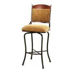 """Tempo - Madera 30"""" Barstool - The Madera stools provide extra comfort and support with cushioned backs. Its classy and elegant design would greatly enhance a variety of arrangements. The stools are available in a variety of hand applied finishes which create a unique finish for each and every stool. They are also available with an array of fabric options and a swivel or as a stationary seat. The hand crafted iron work comes with a manufacturer's guarantee that it is free from defect. Features: -Swivel & stationary seat options .-Constructed for commercial/restaurant usage .-Product as pictured may vary slightly from swatches .-16 Gage steel .-Eco friendly powder coated finish .-Some assembly required .-Seat height: 30"""" . All Tempo Metal stools utilize a commercial grade 16 guage stainless steel. These are the most durable stools in the industry. TEMPO INDUSTRIES, INC. warrants its iron metal product construction to be free from defects in workmanship and materials for the life of the product. Fabric coverings and moving parts are not covered by this warranty."""