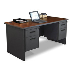 Marvel - Marvel Pronto Double Pedestal Desk - 60W x 30D - PDR6030DPDTMA - Shop for Desks from Hayneedle.com! Keep your office or home study well-organized with the Marvel Pronto Double Pedestal Desk - 60W x 30D. With a durable steel construction it has a powder-coated finish and melamine laminated top with grommets. This made-in-the-USA desk has a modesty panel with wire management channels. Spacious and sturdy this computer desk offers you comfortable leg room. For convenient storage the table has two roomy drawers with ball-bearing gliders. You can select this GREENGUARD-certified table in different colors.