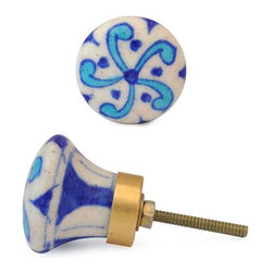 """Knobco - Floral Design Knob, Turquoise Flower And Blue Dots With White - Turquoise Flower and Blue dots with white base knob01 from Jaipur, India. Unique, hand painted cabinet knobs for your kitchen      cabinets. 1.5"""" in diameter. Includes screws for installation."""