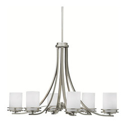 Kichler 6-Light Chandelier - Brushed Nickel - Six Light Chandelier Named after renowned Dutch architect, Hendrix Berlage, the Hendrix collection is a gorgeous family of contemporary fixtures that honor the man who was regarded by many as the father of modern architecture. Much like Berlage himself, the Hendrix collection is regarded as an intermediary between modern and traditional styles. Classic lines are enhanced with a soft touch of current style cues to work in a number of aesthetic environments. The clean look provided by our brushed nickel finish is partnered with the satin-etched cased opal glass for a fantastic pure and frosted color palate. The oval body shape of the 6-light Hendrix chandelier uses 100-watt bulbs, measures 36 long with a body height of 23. It comes complete with 104 of extra lead wire as well, allowing for easy installation.