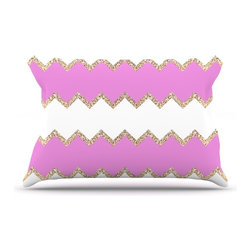 "Kess InHouse - Monika Strigel ""Avalon Pink Chevron"" Rose White Pillow Case, King (36"" x 20"") - This pillowcase, is just as bunny soft as the Kess InHouse duvet. It's made of microfiber velvety fleece. This machine washable fleece pillow case is the perfect accent to any duvet. Be your Bed's Curator."