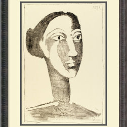 Amanti Art - Head of a Woman with a Chignon Framed Print by Pablo Picasso - Picasso's instantly recognizable art came later in life, but in his earlier works — such as this one — you see the direction he's going. This striking sketch features a few of Picasso's signature clues, and will look even better as a centerpiece on your wall.