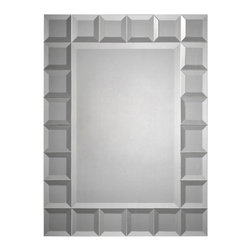 Ren-Wil - Ren-Wil MT924 Portrait Mirror in All Glass - 24 small beveled mirror squares surrounding a beveled center mirror.